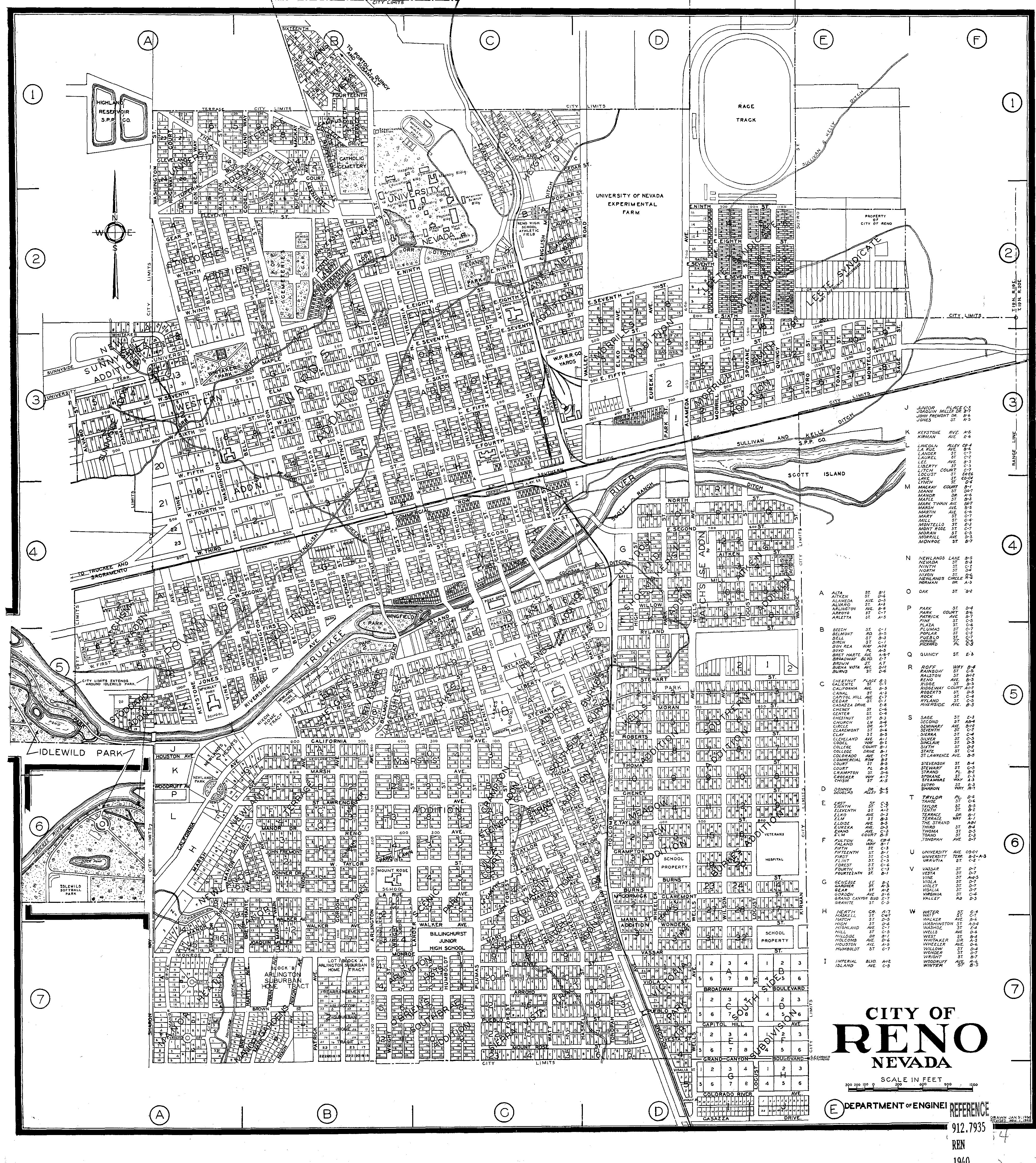 Map Of Reno Photo Details The Western Nevada Historic - Nevada city map