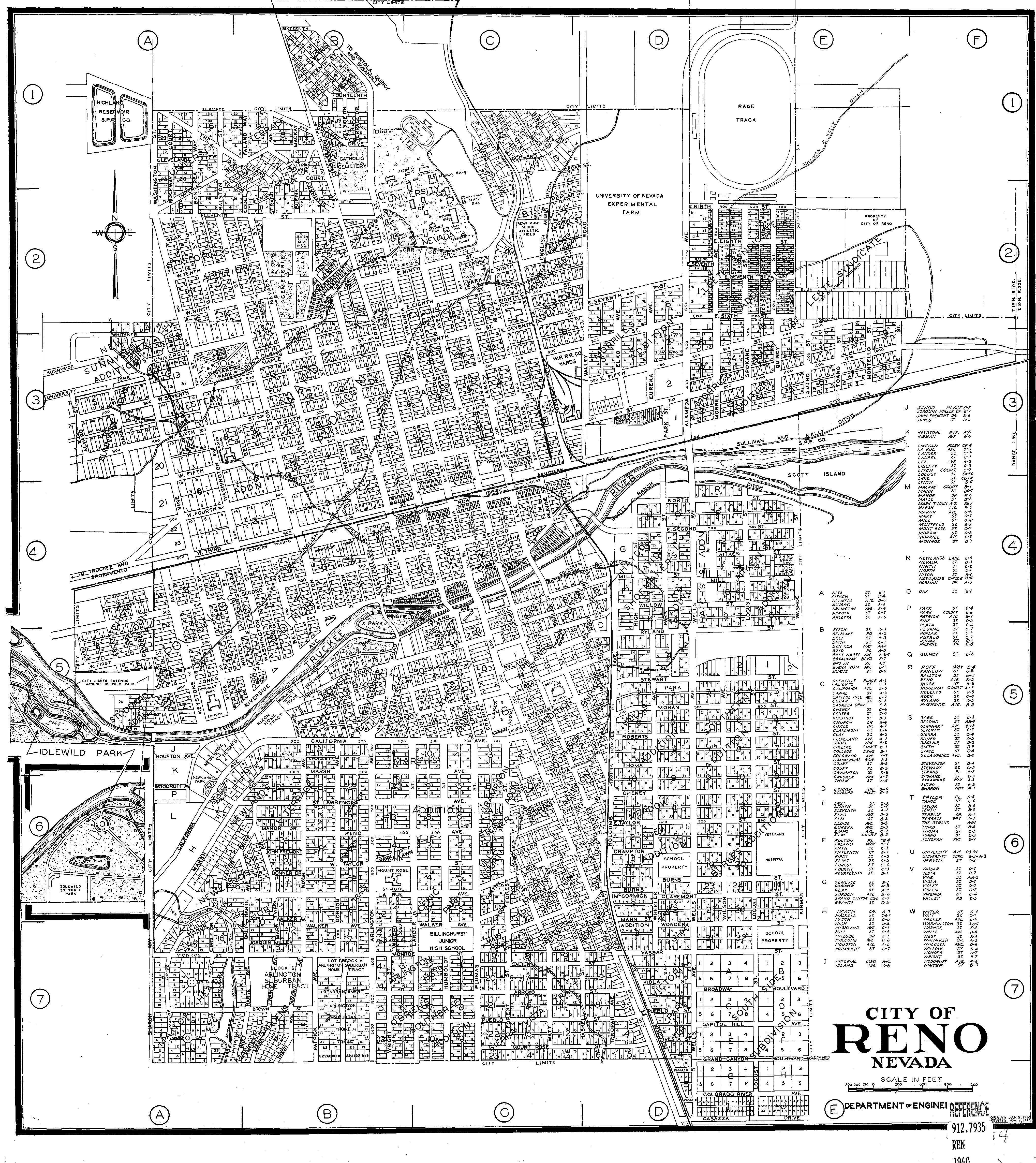 reno nevada street map Map Of Reno 1940 Photo Details The Western Nevada Historic reno nevada street map
