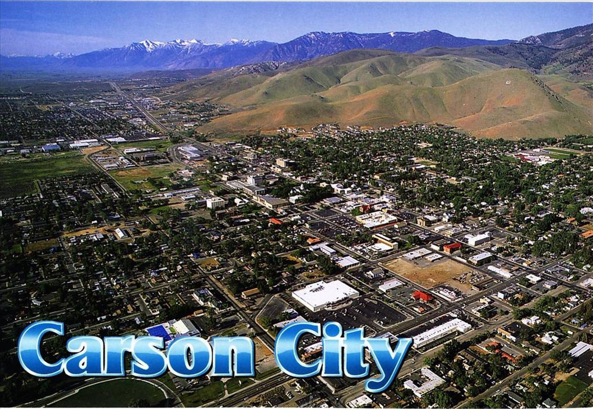 Carson City Aerial Postcard Photo Details The Western